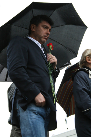 boris: Moscow, Russia - October 7, 2008. Politician Boris Nemtsov at a rally memory of Anna Politkovskaya. The rally on the anniversary of the murder of Russian journalist Anna Politkovskaya. On Pushkin square in Moscow opposition, human rights activists and jou