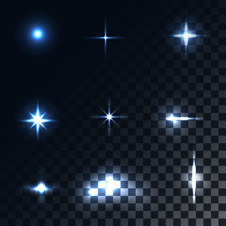 Set optical effects. Bright light rays and glare. Vector elements. Holiday and magic