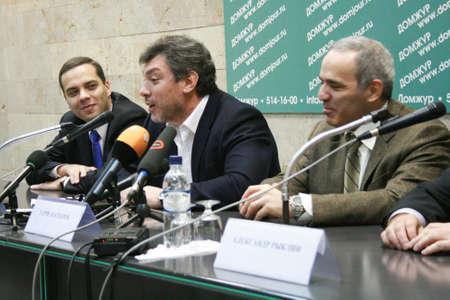 boris: Moscow, Russia - February 6, 2009.  Politician Boris Nemtsov speaks at a press conference the opposition. In the frame from left to right politics Vladimir Milov, Boris Nemtsov, Garry Kasparov Editorial