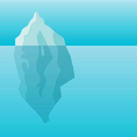 Iceberg in water background. A huge rock of ice in the ocean. The business concept is the secret of power  イラスト・ベクター素材