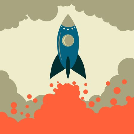 spaceport: Retro rocket vector start up business. Retro space. Retro vector. The rocket takes off. Rocket vector. A rocket engine works. The power and strength of rockets.