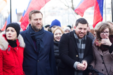 boris: Moscow, Russia - February 27, 2016.  March in memory of Boris Nemtsov. On the anniversary of the murder of Russian opposition politician, the opposition held a protest March in Moscow
