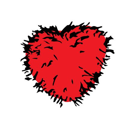 shaggy: Red shaggy fur heart doodle hand drawing. Romance relationship love Valentines day wedding. Heart vector. Heart background. Heart icon. Illustration
