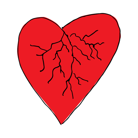 blood vessels: Red heart blood vessels doodle hand drawing. Romance relationship love Valentines day wedding. Heart vector. Heart background. Heart icon.