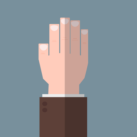 voter: Hand up flat icon vector. The flat hand. Vector hand. Hand illustration. Part of the body. The business concept. Voter. Voting elections