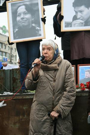 activist: Moscow, Russia - February 15, 2009. Human rights activist Lyudmila Alexeyeva speaks at a rally in memory of Markelov and Baburova. The March and rally in memory of killed lawyer Stanislav Markelov and journalist Anastasia Baburova. Editorial