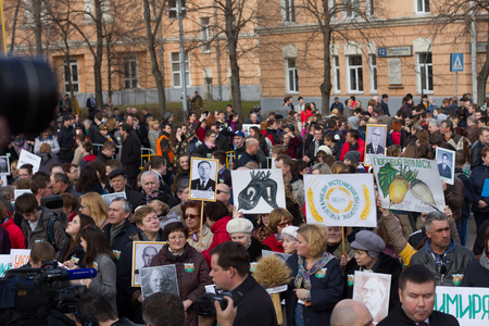 exclusion: Moscow, Russia - April 11, 2016.  The protest of students and professors of the Russian Timiryazev State Agrarian University against the exclusion of scientific fields of development. Protesting students and teachers at a rally in defense of the Timiryaze Editorial
