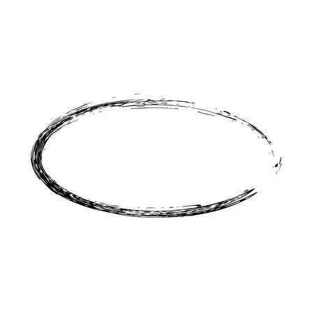 oval shape: Grunge vector frame oval shape. Ink oval frame. An old frame. Oval vector background Illustration