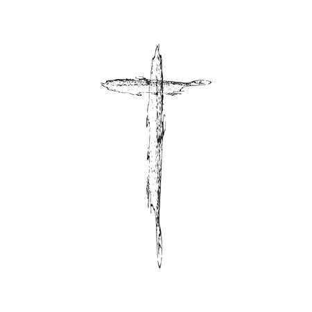 catholicism: Christian cross grunge vector illustration. Old vector cross. Christian cross crucifix. Black cross vector