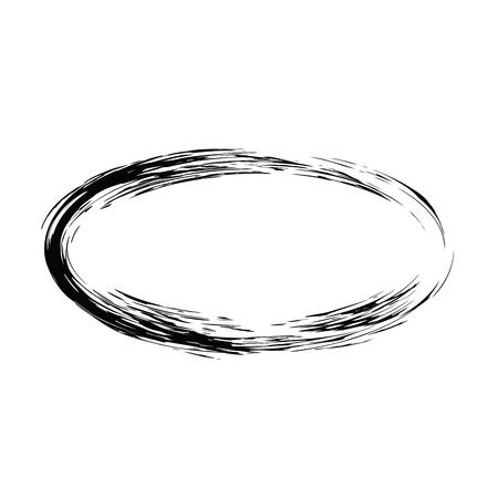 Grunge vecteur cadre de forme ovale. Encre cadre ovale. Un ancien cadre. Oval vector background
