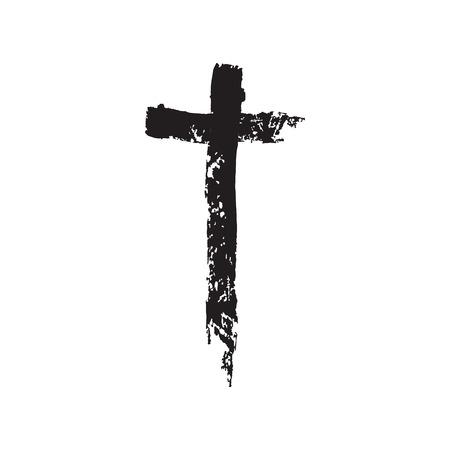crucifix: Christian cross grunge vector illustration. Old vector cross. Christian cross crucifix. Black cross vector