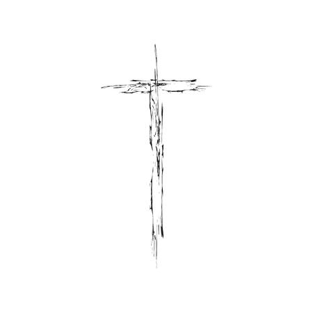 grunge cross: Christian cross grunge vector illustration. Old vector cross. Christian cross crucifix. Black cross vector
