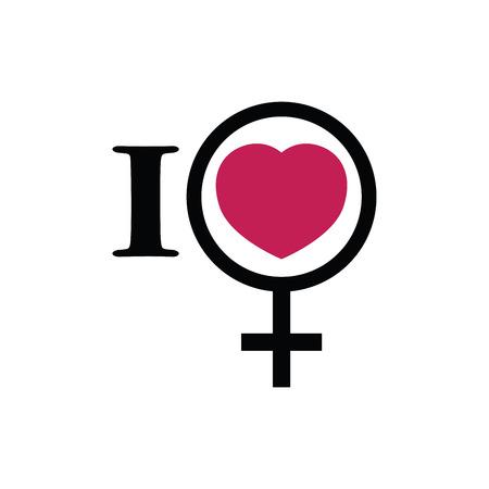 orientation: I love women. Female gender symbol icon. Sexual orientation. Love and romance Illustration
