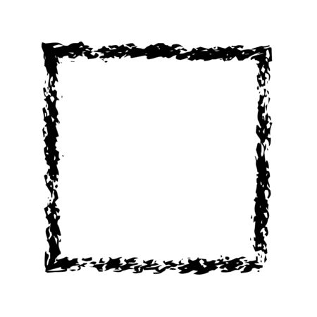 grunge frame: Square frame brush vector grunge paint watercolour ink. Vector old frame. Art frame background. Rectangular outline line black frame