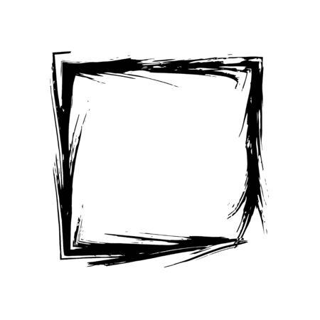 old square: Square frame brush vector grunge paint watercolour ink. Vector old frame. Art frame background. Rectangular outline line black frame