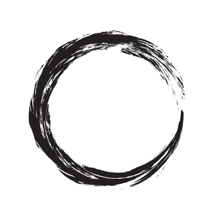 circle shape vector black grunge background. Vintage old round. A circular trail mark. Round frame brush paint blot. Black circle line