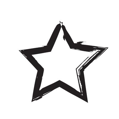 black star: star patriot symbol grunge vector shape. Vector star. Black old figure star. Army and patriotism. Grunge star background