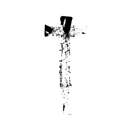 catholicism: Christian cross grunge vector religion symbol. The Cross Of Jesus Christ. The cross of Christianity Catholicism Protestantism Orthodoxy. Old black cross