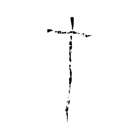 protestantism: Christian cross grunge vector religion symbol. The Cross Of Jesus Christ. The cross of Christianity Catholicism Protestantism Orthodoxy. Old black cross