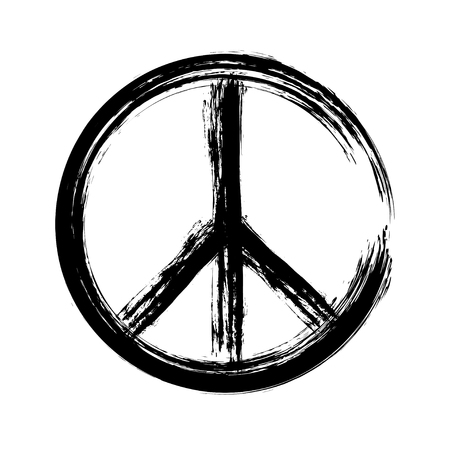 peace symbol icon vector. War and peace friendship pacifism. peace illustration  イラスト・ベクター素材