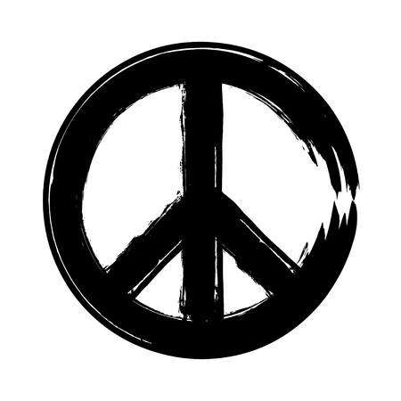 brushwork: peace symbol icon vector. War and peace friendship pacifism. peace illustration Stock Photo