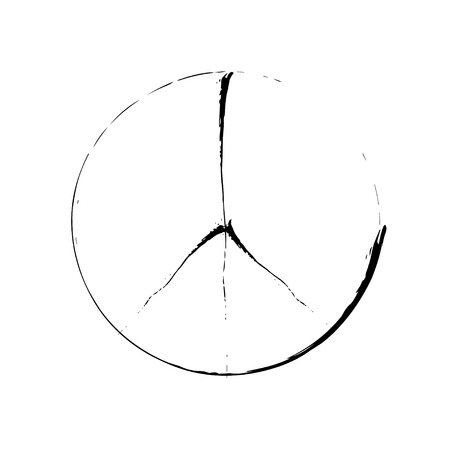 brushwork: peace symbol icon vector. War and peace friendship pacifism. peace illustration Illustration