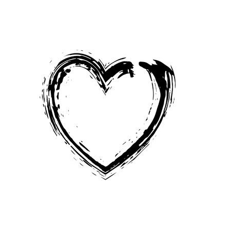 heart symbol: heart shape symbol love vector black. Heart symbol wedding and Valentine day. Heart black outline frame. Illustration