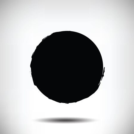 fading: Black vector grunge circle background. Black textured circle. The uneven edges of the circle. Round background Illustration