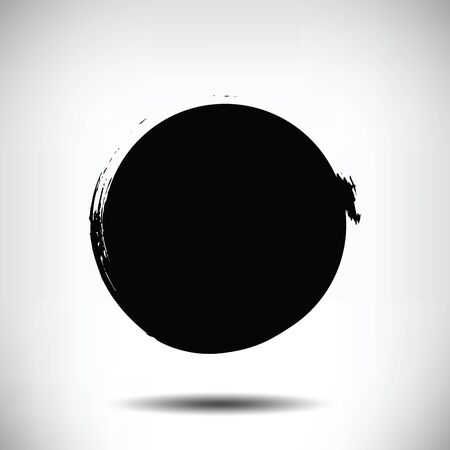 uneven: Black vector grunge circle background. Black textured circle. The uneven edges of the circle. Round background Illustration