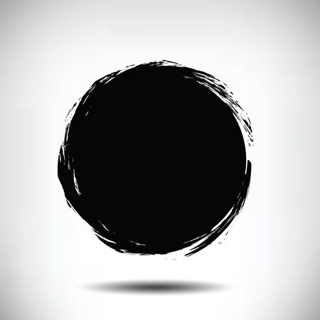 black circle: Black vector grunge circle background. Black textured circle. The uneven edges of the circle. Round background Illustration