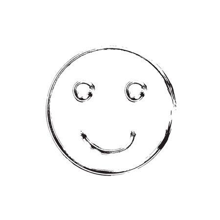 smile face: Smile face grunge icon symbol Emoji. Textured line. Black smile. Vector smile Illustration