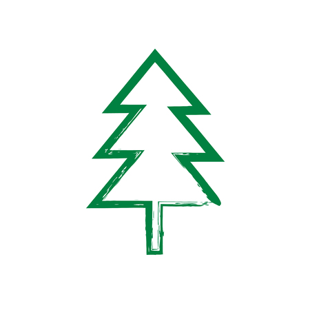 Christmas tree grunge silhouette. Vector new year spruce. Silhouette green tree. Icon Christmas tree. Holidays, New year and Christmas