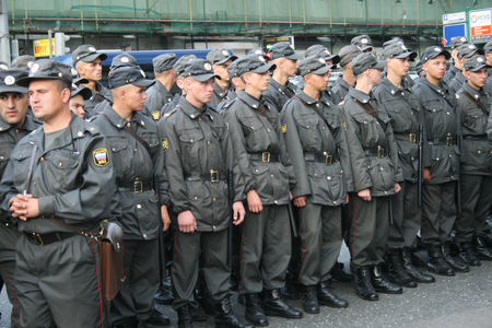 totalitarianism: Moscow, Russia - August 31, 2009. Russian police during protests Strategy-31. A rally in defense of the 31st article of the Constitution, protection of freedom of protest and Assembly.