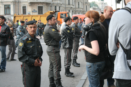 Moscow, Russia - August 31, 2009. A rally in defense of the 31st article of the Constitution, protection of freedom of protest and Assembly. Russian police during protests Strategy-31