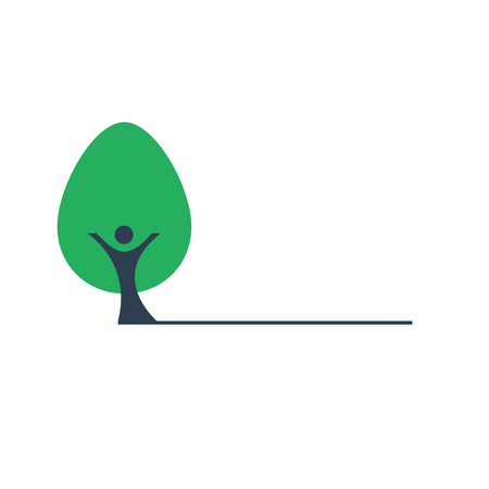 People the trunk and green tree vector icon. Human hands form a smile. Nature and the environment