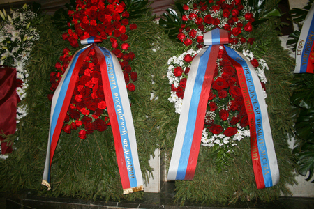 the prime minister: Moscow, Russia - December 19, 2009. The funeral of Yegor Gaidar, a wreath from the President and the Prime Minister