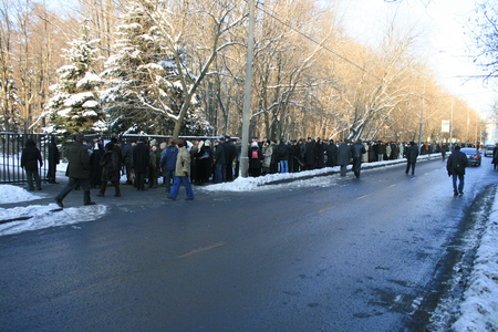 Moscow, Russia - December 19, 2009. Farewell to Yegor Gaidar, the queue to the coffin. A large number of people came to say goodbye to the economist Yegor Gaidar.