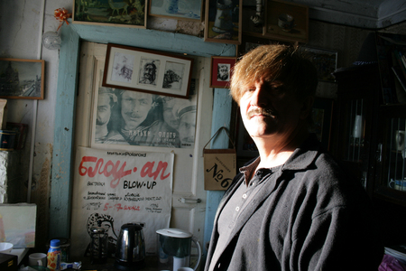 filmmaker: Saint Petersburg, Russia - January 20, 2010. Artist and filmmaker Victor Tikhomirov in his Studio. Member of the Mitki group Editorial