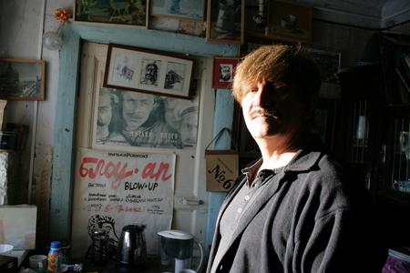 Saint Petersburg, Russia - January 20, 2010. Artist and filmmaker Victor Tikhomirov in his Studio. Member of the Mitki group Редакционное
