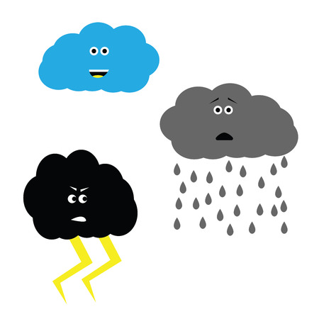 Weather set clouds characters. Thunderstorm, rain and blue sky