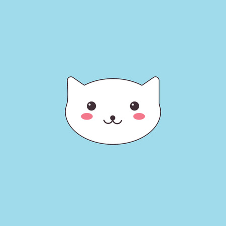 Kawaii muzzle cute cat. a white animal with pink cheeks