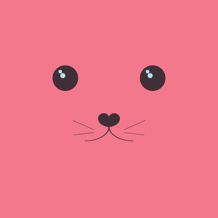 Kawaii the face of a cute animal. Eyes and mouth on a pink background