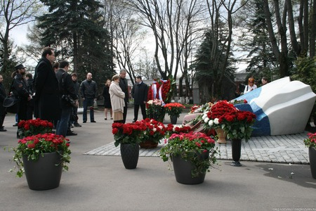 Moscow, Russia - April 24, 2010. Naina Yeltsin, the widow of the first President of Russia at his grave. Novodevichy cemetery
