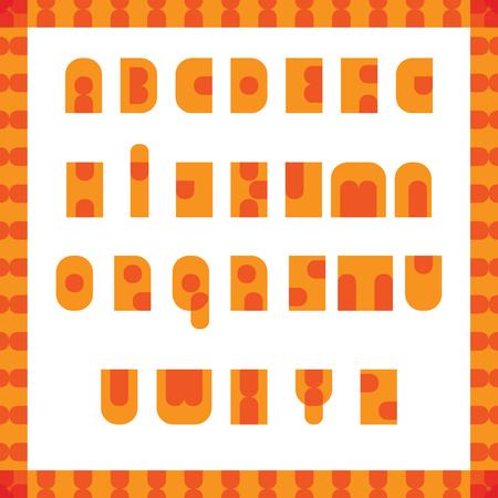 English alphabet pop art retro font. Disco hippie style. Spring orange design. The 70s and 80s Иллюстрация