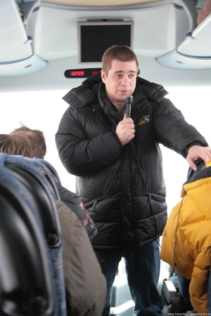 Khimki, Moscow region, Russia - February 3, 2011. Environmentalist from Greenpeace Alexei Yaroshenko tells journalists about how important the Khimki forest. Defenders of the Khimki forest are guided tours for journalists. Редакционное