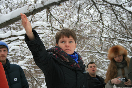 Khimki, Moscow region, Russia - February 3, 2011. Yevgenia Chirikova in the Khimki forest, told the journalists about the importance of this ecosystem. Defenders of the Khimki forest are guided tours for journalists. Редакционное