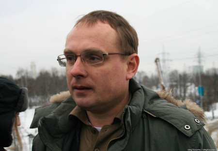 Khimki, Moscow region, Russia - February 3, 2011. Environmentalist Mikhail Matveev told the journalists about how to save the Khimki forest. Defenders of the Khimki forest are guided tours for journalists. Editorial