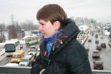 Khimki, Moscow region, Russia - February 3, 2011. Politician Evgeniya Chirikova shows reporters the alternative highway bypassing Khimki forest. Defenders of the Khimki forest are guided tours for journalists