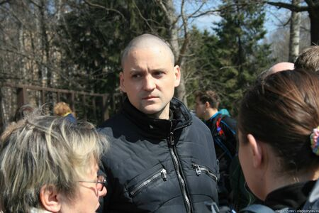 Politician Sergei Udaltsov at the meeting of defenders of the Khimki forest Редакционное