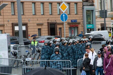 Riot police on the streets of Moscow Редакционное